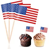 Efivs Arts 100 PCS American Flag toppers Toothpicks 4th of July Independence Day 2020 U.S. Presidential Election…