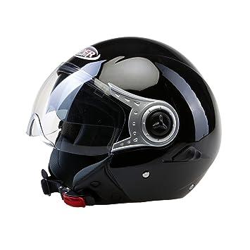 Viper RSV18 Casco Jet Motocicleta Bicicleta Cascos Abiertos de Moto con Doble Visera Negro Brillante XS