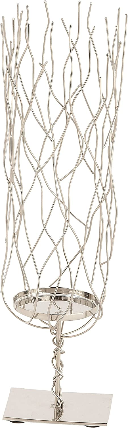 Deco 79 90868 Stainless Steel Wavy Candle Holder 15 x 4 Silver