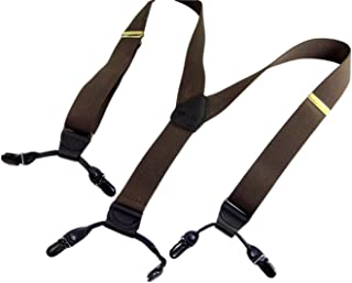 product image for Holdup Suspender Brand Dark Java Brown Colored Casual Series Double-Up Suspenders with black no-slip patented clips