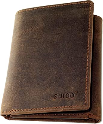 RFID Protection with Coin Pocket Trifold and Zipped Mens Brown Leather Wallet