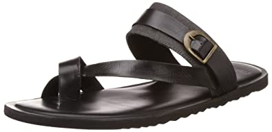 5ad750d3b679 Image Unavailable. Image not available for. Colour  Van Heusen Men s Black  Leather Sandals ...