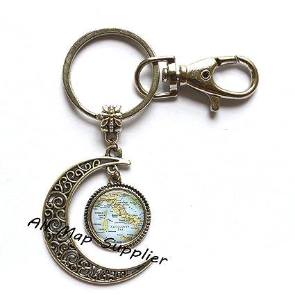 Amazon Com Charming Moon Keychain Italy Charming Map Moon Key Ring