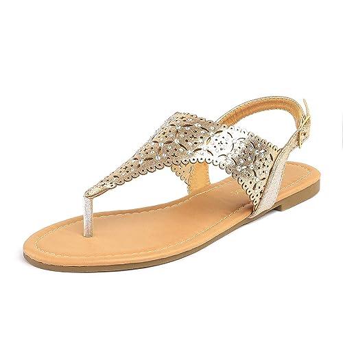 fa5a3c28e3f06 DREAM PAIRS MEDINIE Women Rhinestone Casual Wear Cut Out Flat Sandals