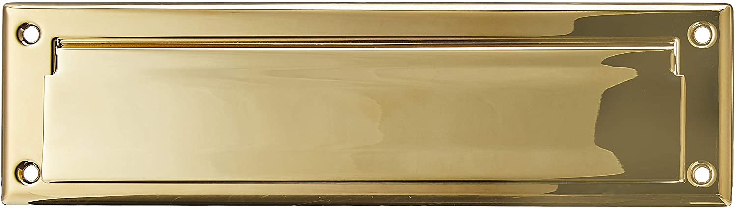 """Baldwin Estate 0012.003 Letter Box Plate in Polished Brass, 13"""" x 3.625"""""""
