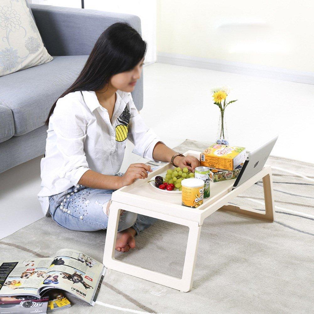 ZHPJJLYHTQ Folding laptop table plastic mini table folding laptop table bed lazy table student dormitory writing,Beige, 54.5*36*26.5cm