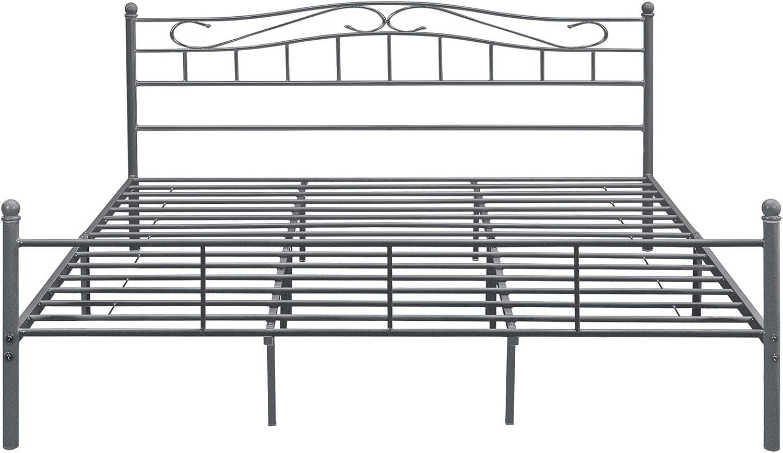Metallbett Florenz 90 x 200cm Dunkelgrau Bettrahmen Jugendbett Stahlrahmen Einzelbett Bettgestell en.casa
