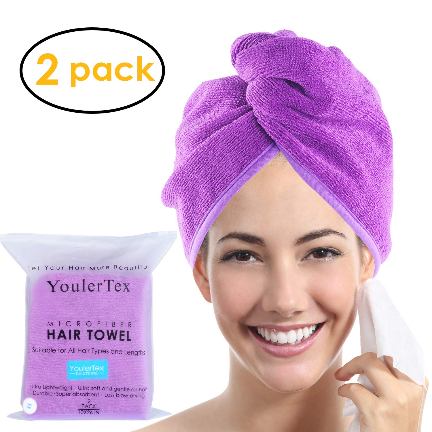 Ultra Plush Microfiber Hair Towel Wrap for Women, 2 Pack 10 inch X 26inch Purple, Ultra Absorbent Twist Hair Turban Drying Cap Hair Wrap, For Drying Curly, Long & Thick Hair YoulerTex