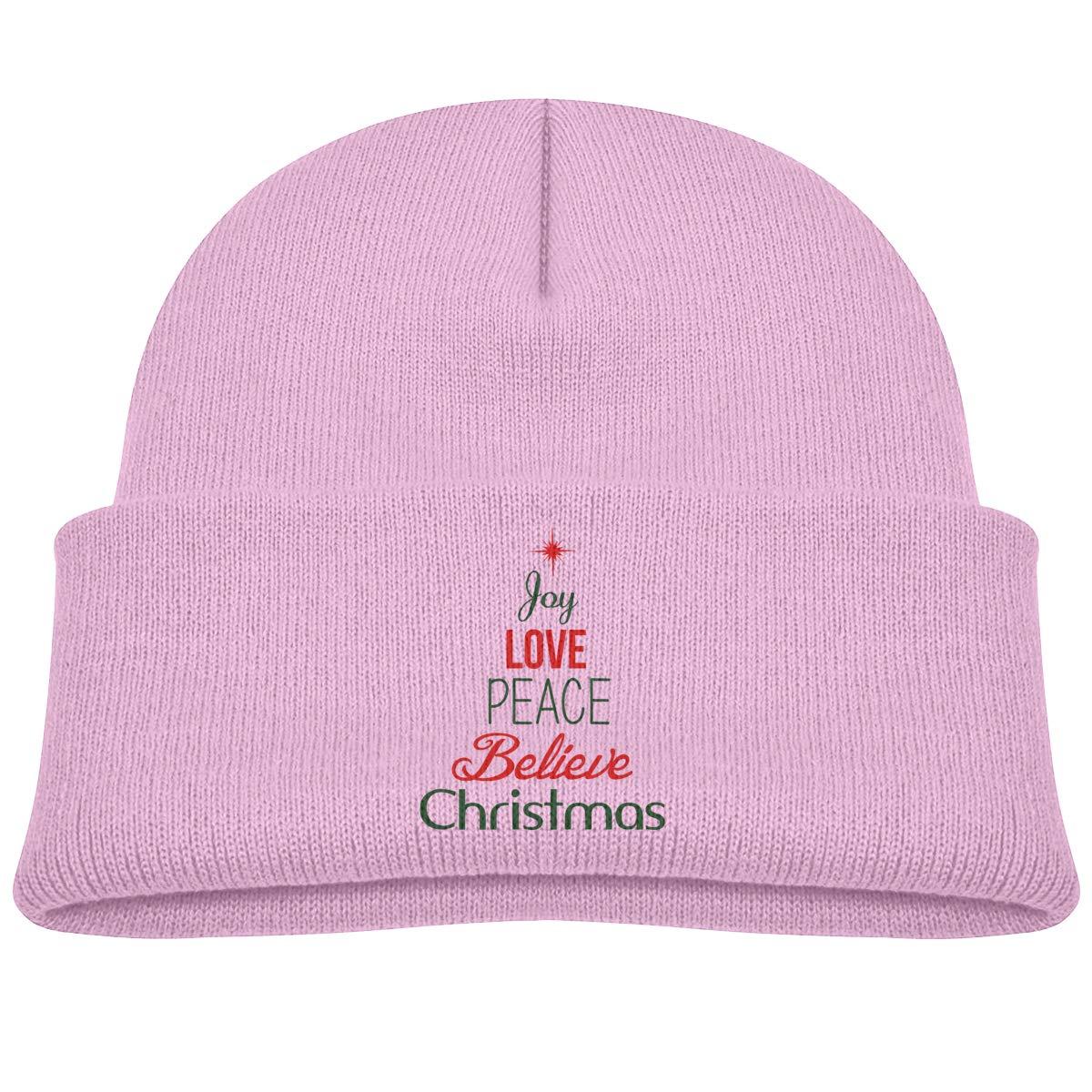 Joy Love Peace Believe Christmas 7 Infant Knit Hats Baby Girls Beanie Cap