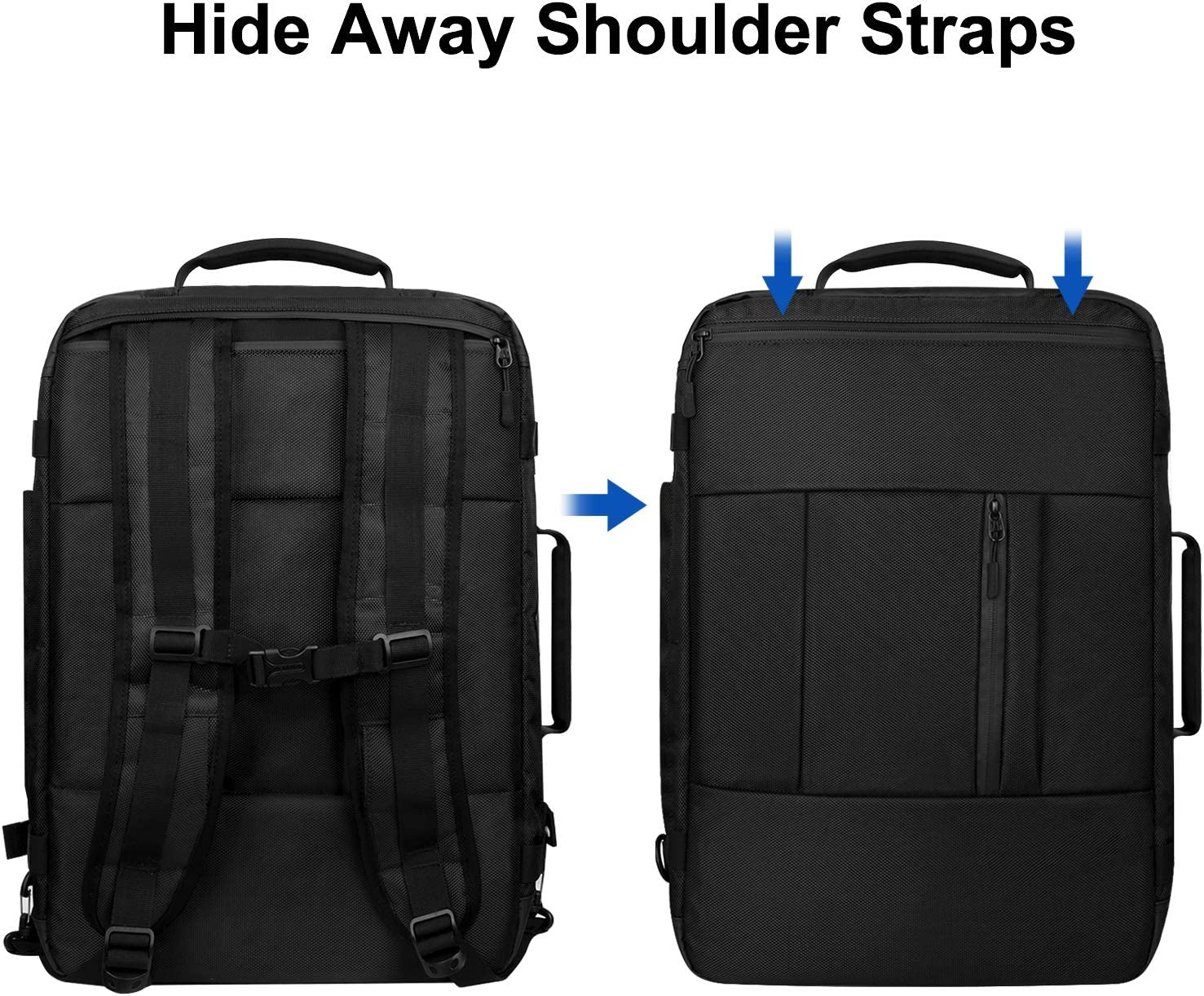 Carry on Laptop Backpack, 40L Large Travel Backpack Flight Approved Carry-on Luggage Backpack Weekender Bag for Men Women, Water Resistant Business Laptop Backpack Fits 17.3 Inch Laptop – Black