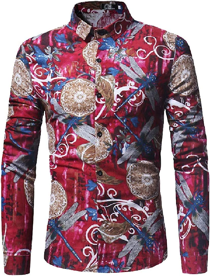 HEFASDM Mens Long-Sleeve Business Print Shirt Buttoned Comfy Western Shirt