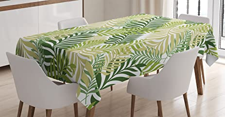 Leaves Decor Tablecloth By Ambesonne, Tropical Exotic Palm Tree Leaves  Natural Botanical Spring Summer Contemporary