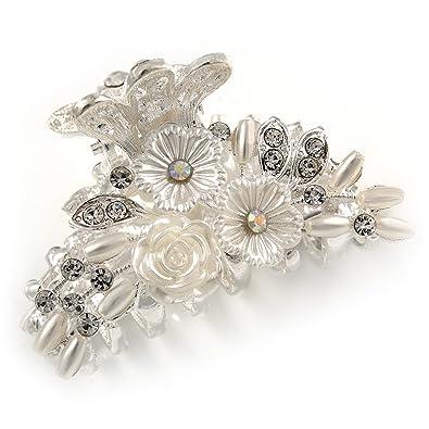 Avalaya Small Bridal/Prom/Wedding Acrylic Flower, Crystal Hair Claw In Silver Tone Metal - 55mm Across