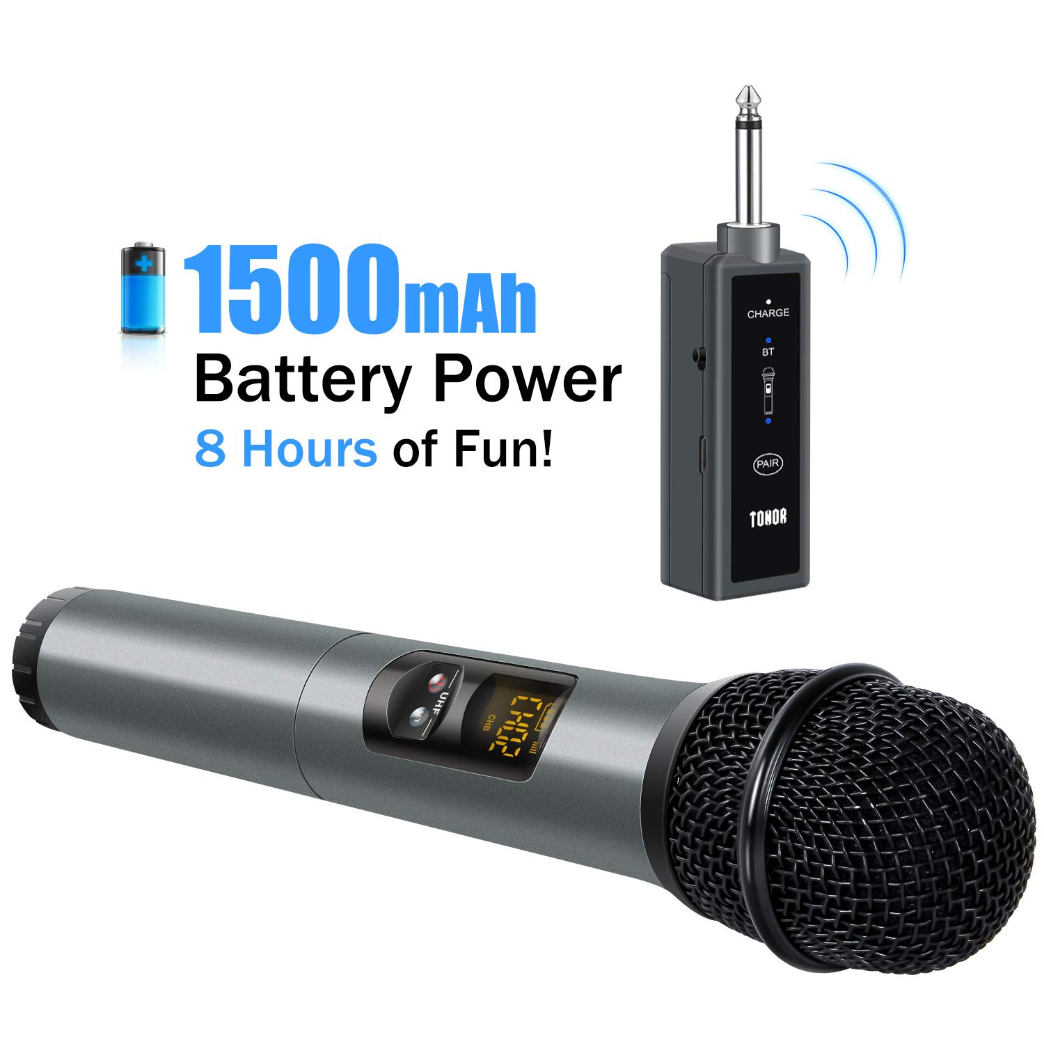 TONOR UHF Wireless Microphone Handheld Mic with Bluetooth Receiver 1/4 Output for Conference/Weddings/Church/Stage/Party/Karaoke, 80ft by TONOR