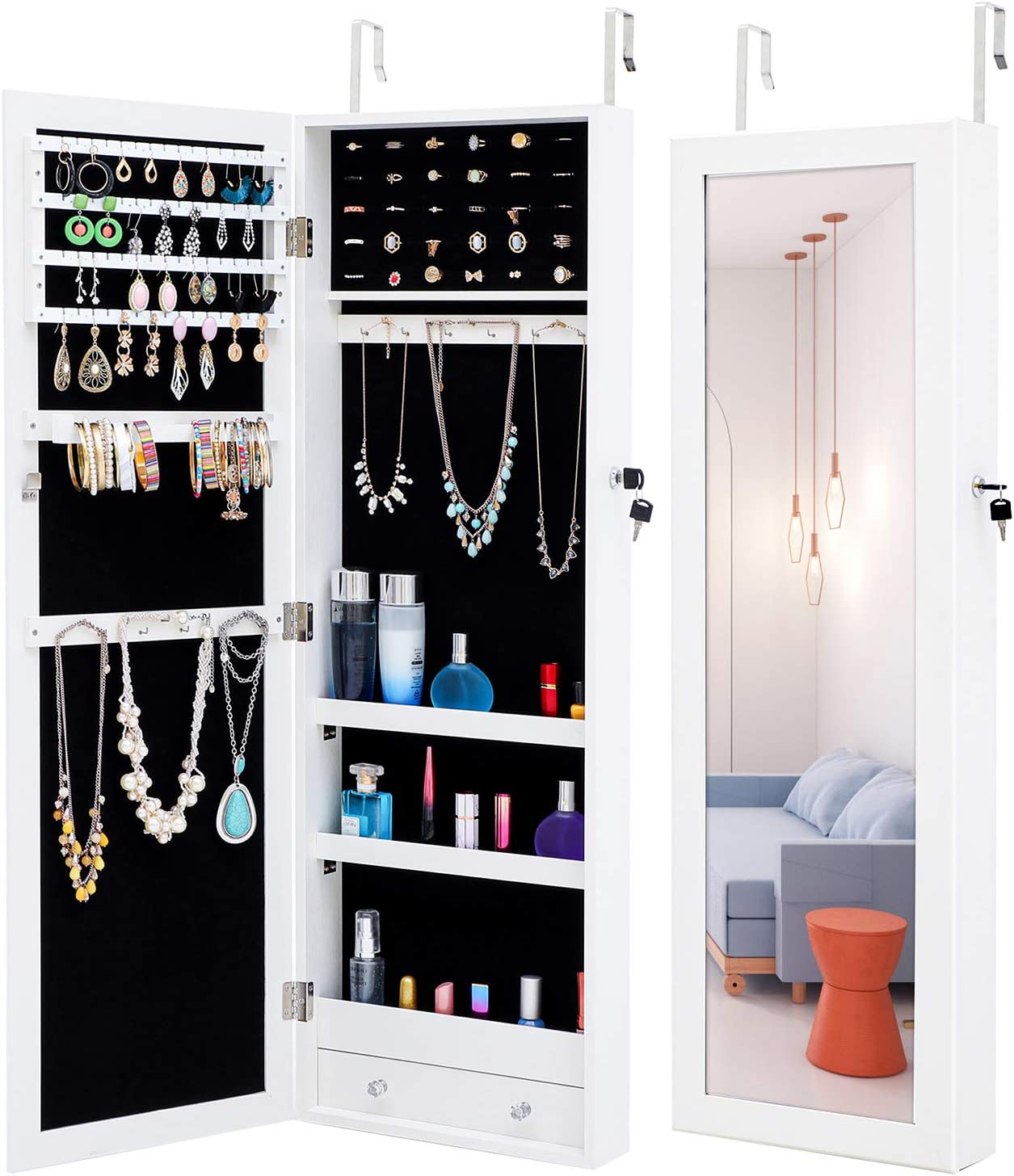 MIYACA Jewelry Mirror Armoire Organizer Fashion Simple, Lockable Jewelry Cabinet Wall/Door Mounted, with Full Length Dressing Mirror and Larger Capacity, White-Simple