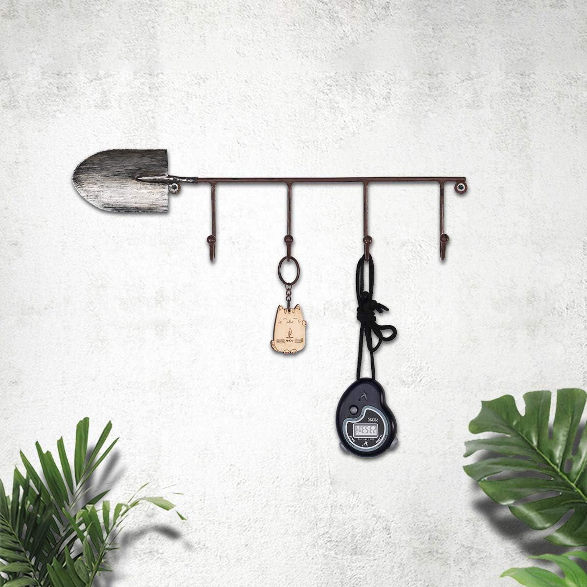 Tooarts - Perchero de pared con 4 ganchos, para sombreros, bolsos y llaves, diseño de pala antigua decorativa para pared o puerta