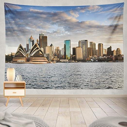 KJONG Sunset Tapestry, Australia Sydney Sunset Sky Bright Cityscape Line Sydney Skyline City Dusk Dorm Tapestry Wall Hanging Wall Tapestry for Bedroom Living Room 60X80 Inches, Blue
