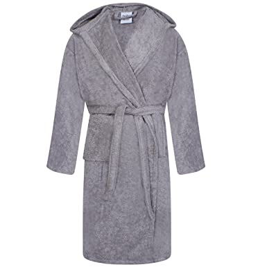 Unisex 100% Egyptian Cotton Bathrobe Terry Towelling Hooded Dressing Gown  Steel Grey  Amazon.co.uk  Clothing 4f023ecae
