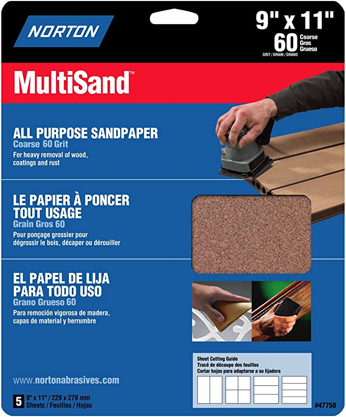 "NORTON 9/"" X 11/"" PROSAND SANDPAPER 80 GRIT 50 PC. BOX"