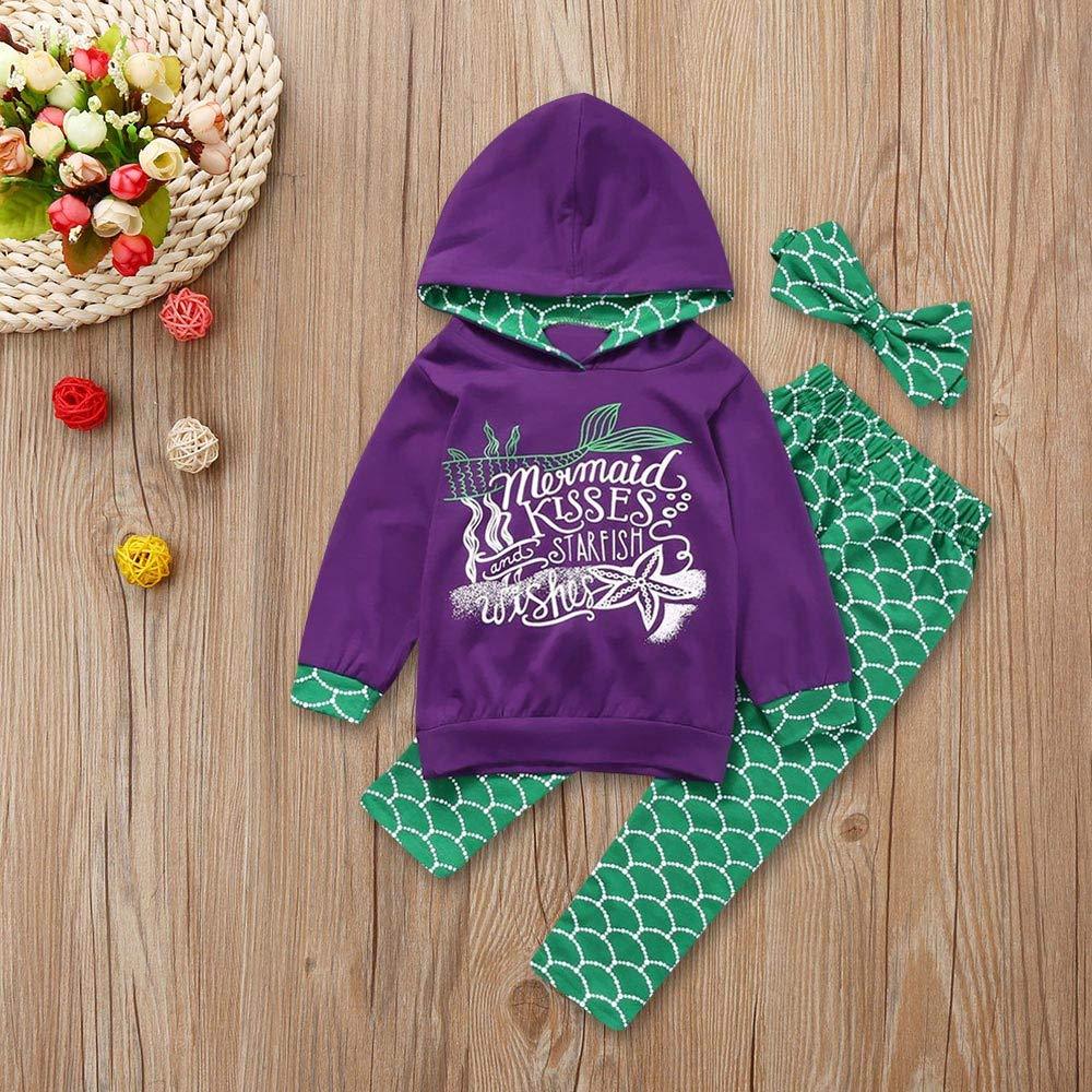 Iuhan  3PC Baby Girls Outfit 1-5Year Toddler Kids Mermaid Hoodie Tops Pants