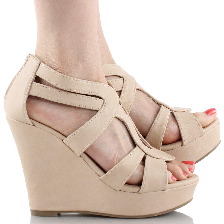 Top Moda Womens Lindy-88 Platform Sandals B00UMA1XTU 6.5 B(M) US|Beige