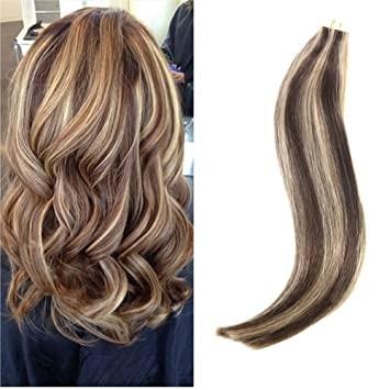 Amazon ugeat 20 inch remy hair extensions highlight colored ugeat 20 inch remy hair extensions highlight colored brown mixed blonde skin weft tape in hair pmusecretfo Choice Image