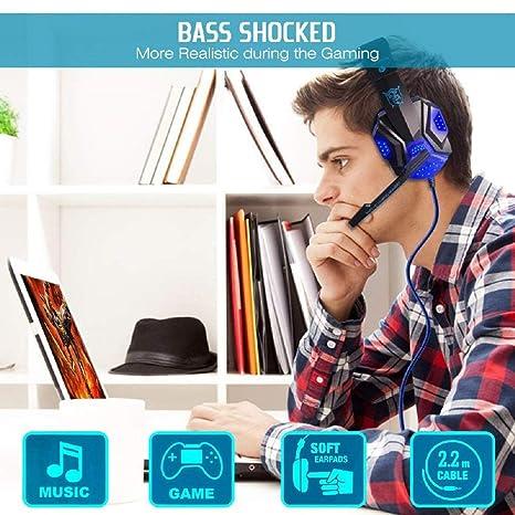 melysEU Auriculares Gaming Premium Stereo con Microfono Cascos Gaming de Mac Estéreo Bajo estéreo Sobre Orejas