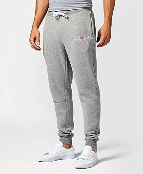 Para hombre forro polar de deporte pantalón de chándal gris elástica de – Pantalones de