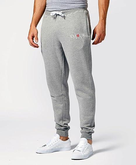 7fbcd9048e5f Pantaloni di felpa lunghi da uomo, grigio, da jogging in cotone,  elasticizzati con risvolto, pantaloni della tuta da allenamento, per sport  e corsa ...