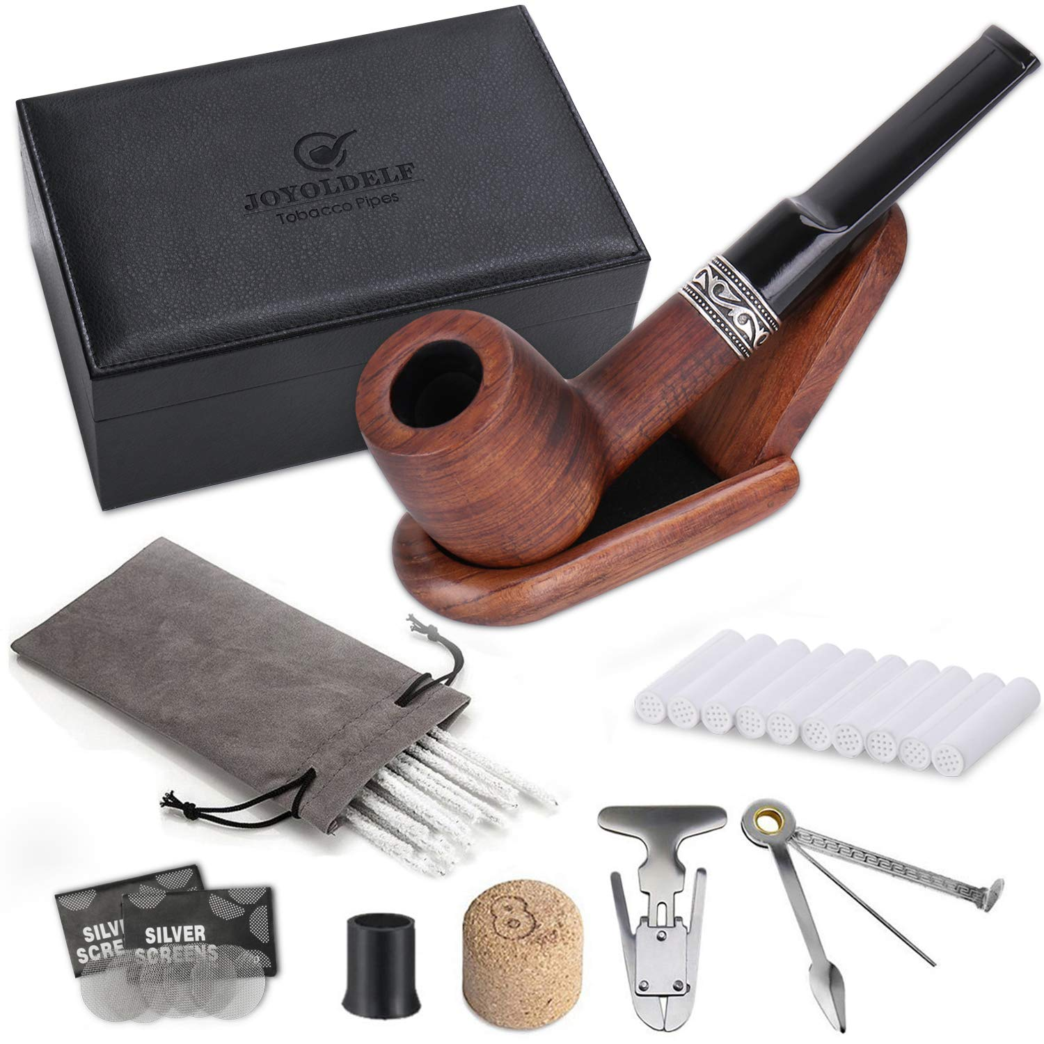 Joyoldelf Billiard Rosewood Tobacco Pipe Set, Wooden Pipe with Foldable Pipe Stand Holder, 3-in-1 Pipe Scraper and Other Smoking Accessories