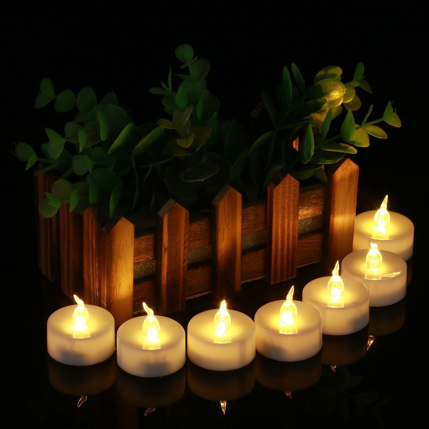 Homemory 24 Pack Warm White Battery LED Tea Lights Party Gift Global Selection HMCLTLNBS24 Wedding Dia 1.4/'/' Electric Fake Candle for Votive Dining Room Flameless Flickering Tealight Candle Table