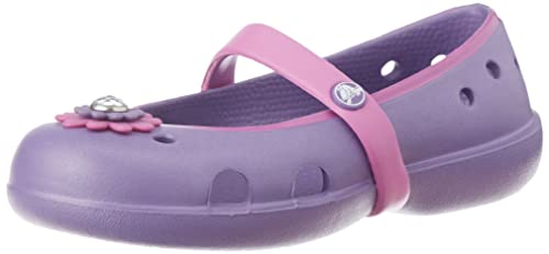 4425a8f5b Crocs Girl s Keeley Petal Charm PS Violet and Purple Mary Jane Flats - C9