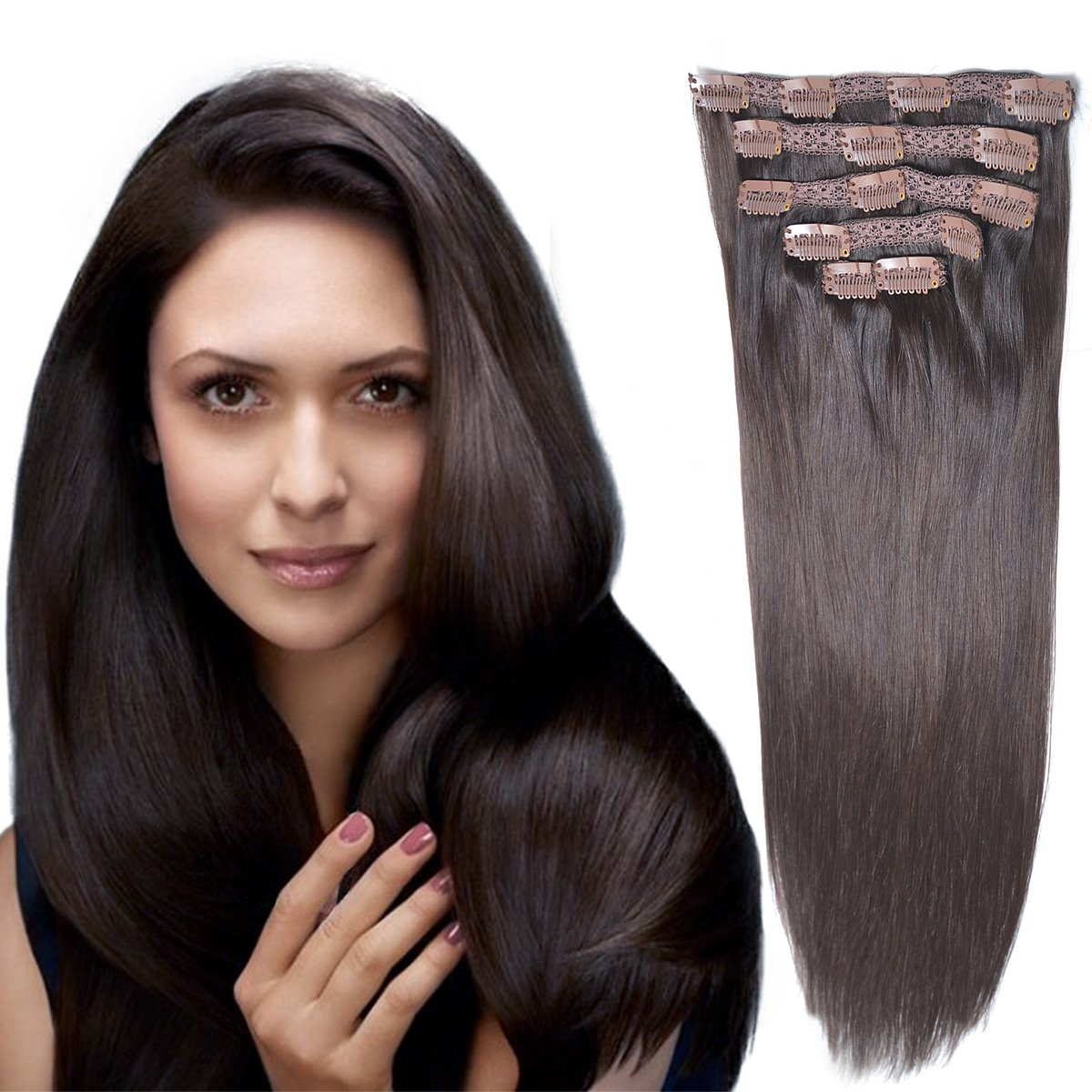 18''Clip in Remy Human Hair Extensionsdouble Weft Thick to Ends Dark Brown(#2) 6pieces 70Grams/2.45oz by BHF HAIR