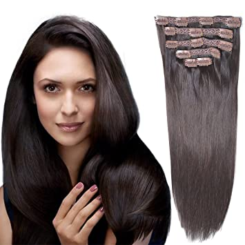 18 Clip In Remy Human Hair Extensionsdouble Weft Thick To Ends Dark Brown 2 6pieces 70grams 2 45oz