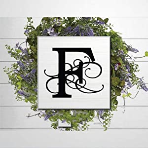 DONL9BAUER Wood Sign F Monogram Plaque Farmhouse Decor Wall Hanging Wedding Monogram Art, Monogram Sign, Letter Art Decor Sign Indoor Outdoor