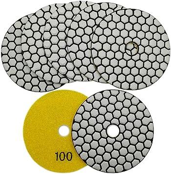 SHDIATOOL Diamante Almohadilla de Pulido 7 Piezas Grano 50 para Pulir en Seco M/ármol Granito Piedra Cer/ámica Dia 100mm//4 Pulgadas