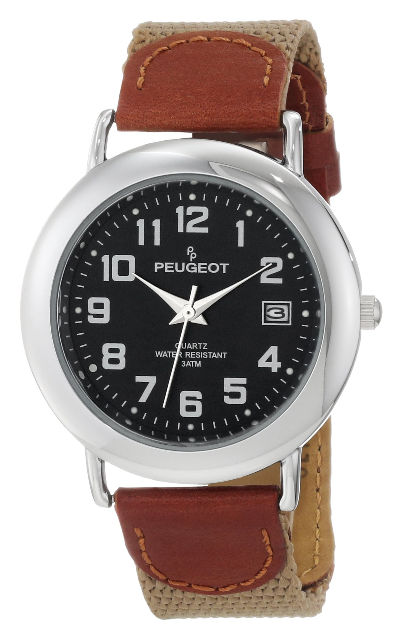 Peugeot Unisex 484TN Unisex Black Dial Leather and Canvas Strap Watch