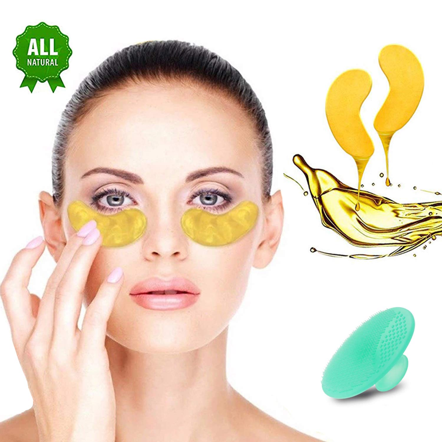 Gold Eye Mask 24K Gold Eye Treatment - Anti-Aging Hyaluronic Acid Under Eye Mask & Patches for Moisturizing & Reducing Dark Circles Puffiness Wrinkles - Eyes Collagen Eye Pads, Set of 12 Pairs