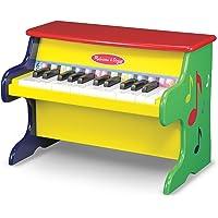 Melissa & Doug Aprende a tocar piano, instrumentos musicales, construcción de madera sólida, 25 teclas y 2 octavas completas, 29.21 cm alto x 24.13 cm ancho x 40.64 cm largo