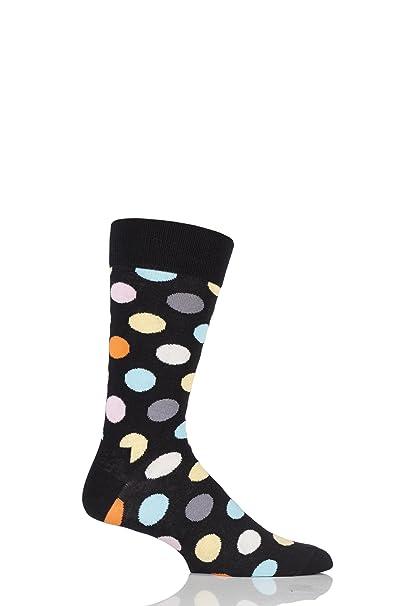 Herren und Damen 1 Paar Happy Socks Großer Punkt gekämmte Baumwolle Socken  schwarz 4-7