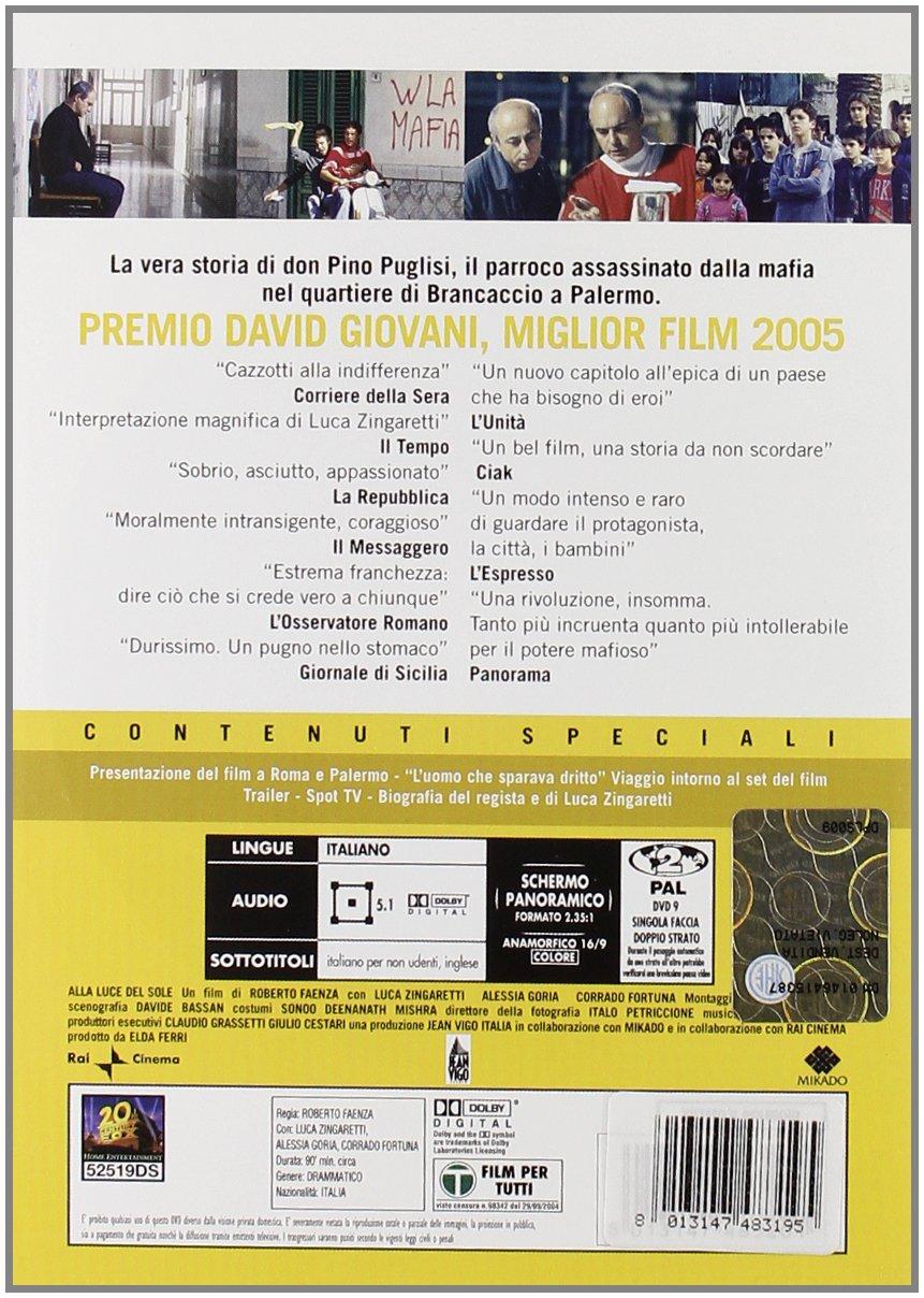 Alla Luce Del Sole 1 Dvd Amazon It Luca Zingaretti Alessia Goria Roberto Faenza Luca Zingaretti Alessia Goria Film E Tv