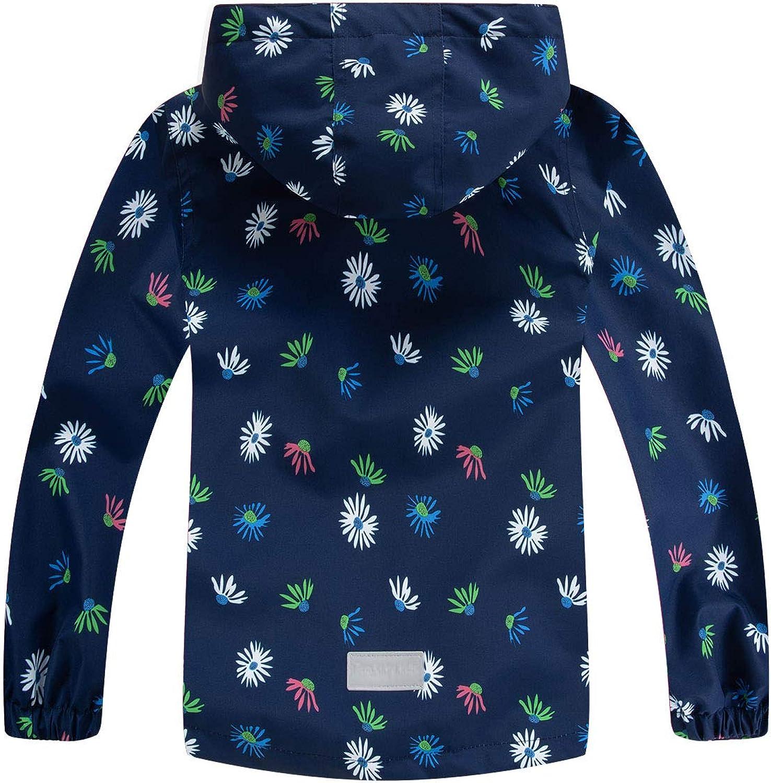 LAUSONS Kids Girls Hooded Raincoats Floral Fleece Lined Waterproof Jacket Outdoor