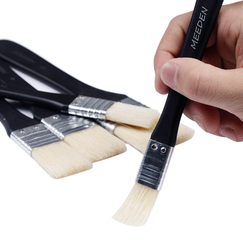 MEEDEN 5 Pcs Large Hog Bristle Paint Brush Set Flat Brushes for Acrylic Oil Painting and Craft, Short Handle