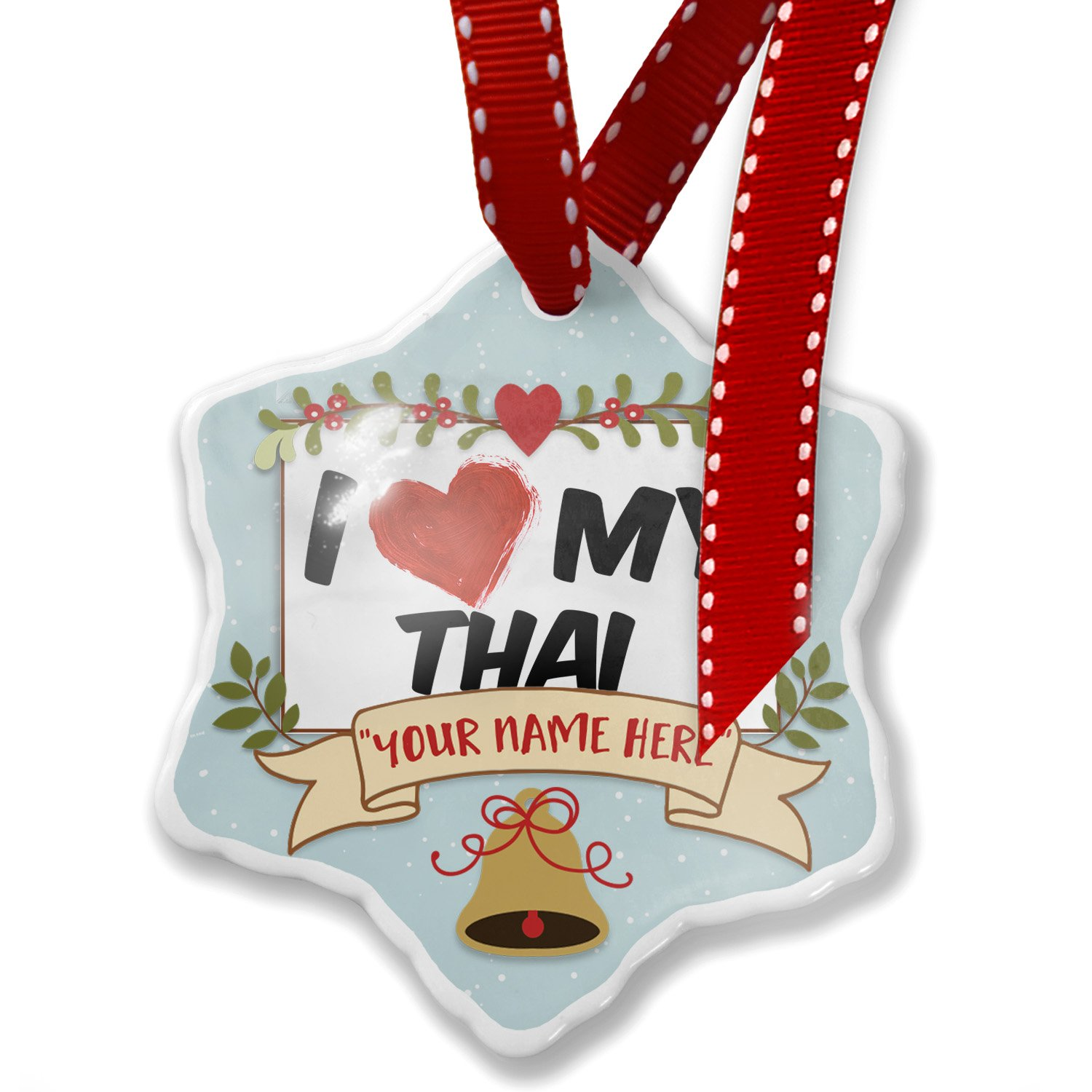 Add Your Own Custom Name, I Love my Thai Cat from Thailand Christmas Ornament NEONBLOND