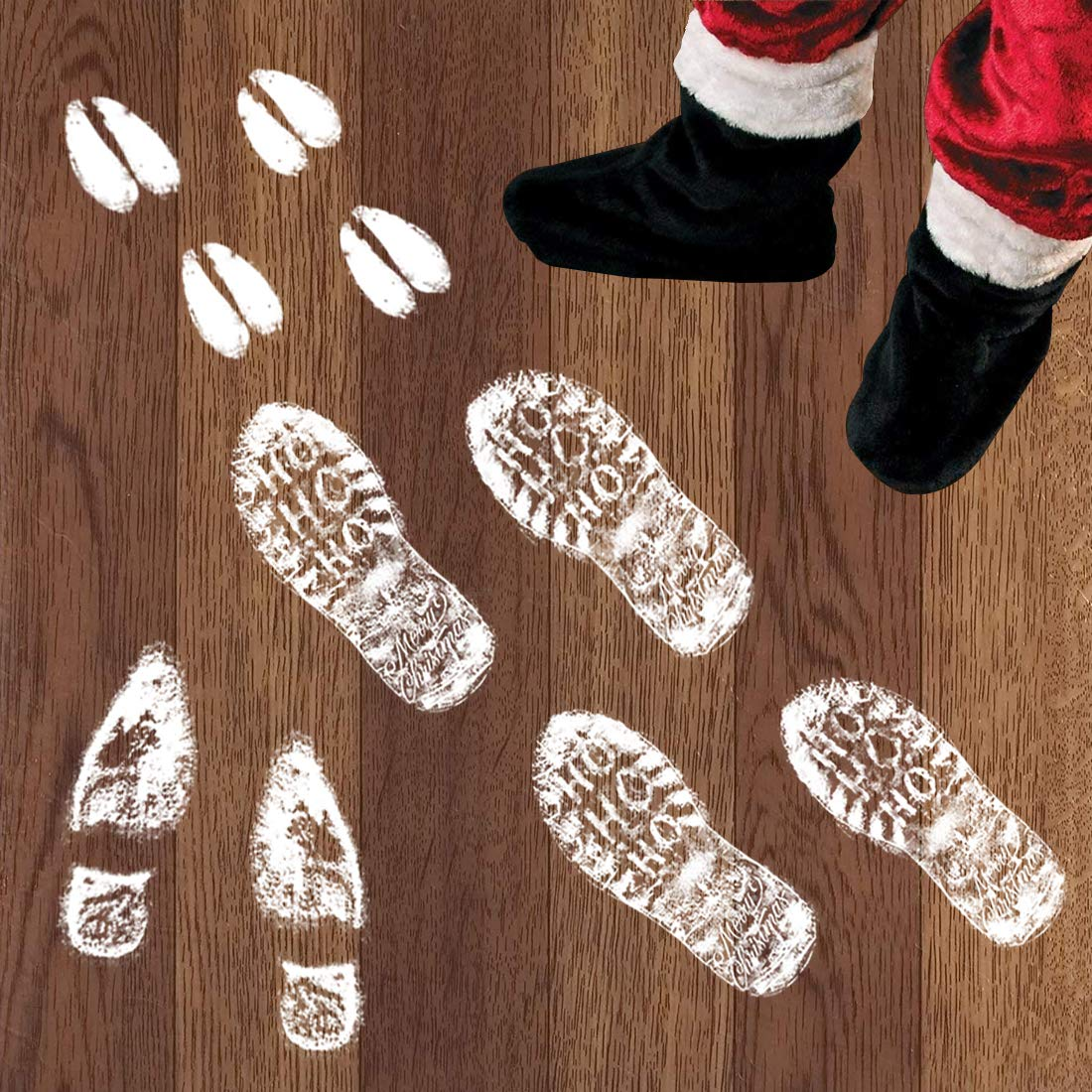 112 PCS Christmas Decorations Christmas Window Clings Footprint Decals Decoration Floor Stickers Christmas Party Supplies Indoor/Outdoor Garma