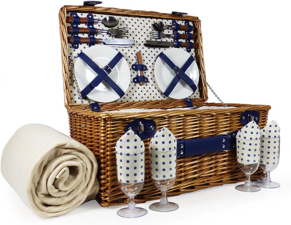 Lonsdale - Cesta de picnic con accesorios para 4 personas, con compartimento para enfriador y manta de polar color crema - Ideas de regalo para el día del padre, día de la madre, San Valentín