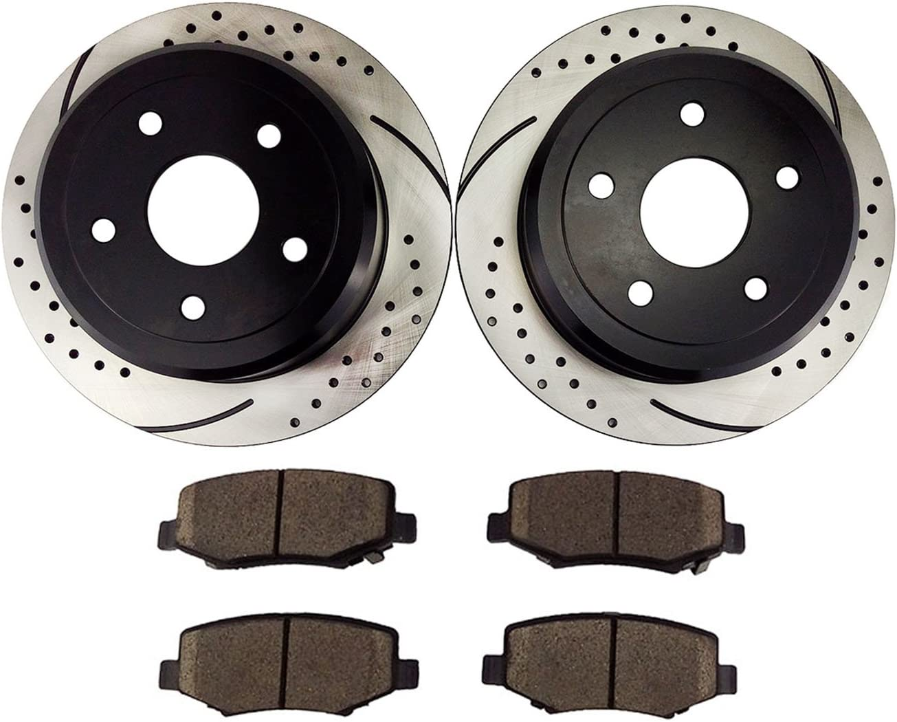 Atmansta QPD10012 Rear Slotted /& Drilled Rotors and Ceramic Pads Brake Kit for 2007-12 Jeep Wrangler 53041 D1274