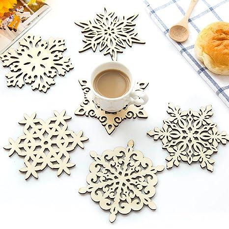 Compra Posavasos de madera copo de nieve taza soporte para bebidas y café decoración de la mesa de Navidad mantel individual, 12 unidades en Amazon.es