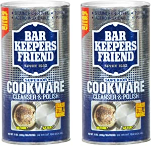 Bar Keepers Friend Cookware Cleanser & Polish (12 oz) - Cleaner, Degreaser & Stain-Remover - for Use on Stainless Steel and Copper Pots, Pans and Utensils, Glass Casserole Dishes and More(2)