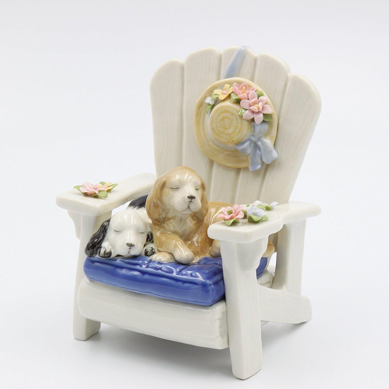新しい季節 Cosmos Dog on High 18cm Chair Ceramic Musical, White, on 18cm - 0.6cm High B01EKI8IYM, ショップトレード:eb63a2a8 --- arcego.dominiotemporario.com